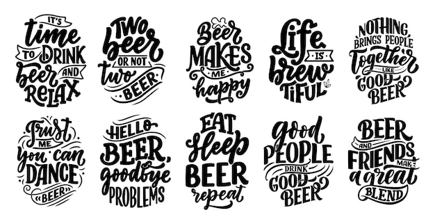 Набор с надписью цитаты о пиве