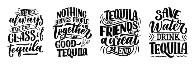 Set with lettering quotes about tequila in vintage style.