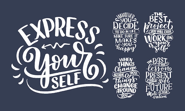 Set with lettering slogans about be yourself funny quotes for blog poster and print design modern ca...