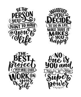 Set with lettering slogans about be yourself. funny quotes for blog, poster and print design. modern calligraphy texts about selfcare.