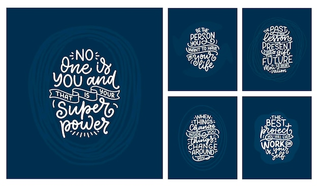 Set with lettering slogans about be yourself funny quotes for blog