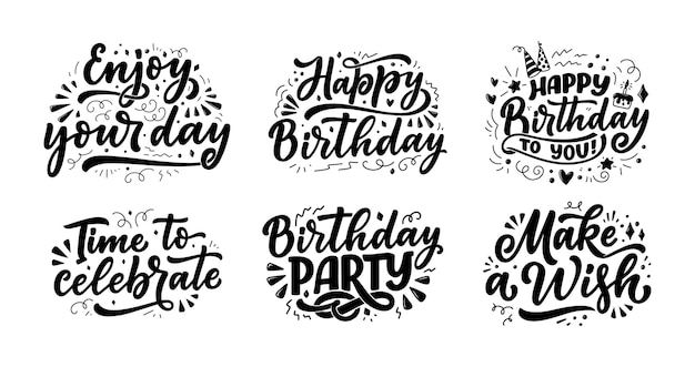Set with lettering slogans for happy birthday