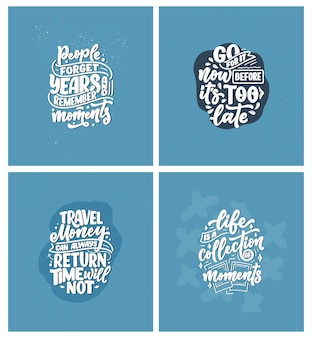 Набор с вдохновляющими цитатами о путешествиях и хороших моментах, нарисованными от руки лозунгами