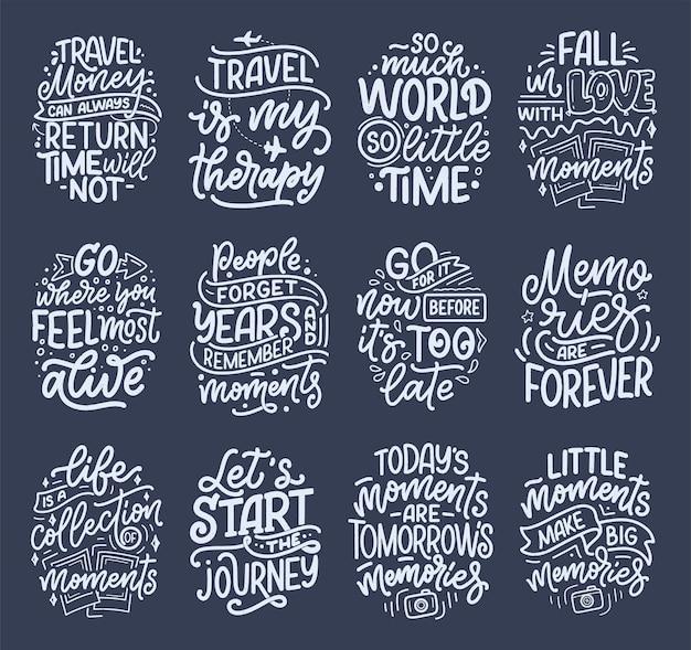 旅行と良い瞬間についてのライフスタイルのインスピレーションの引用で設定