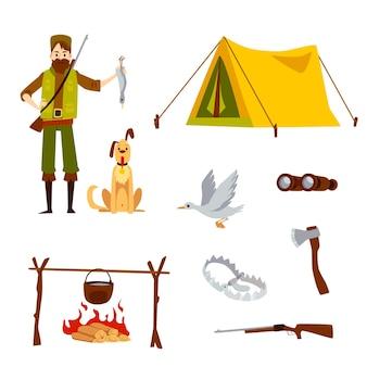 남성 사냥꾼과 만화 스타일의 장비로 설정