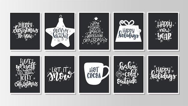 Набор с рождеством и новым годом винтажные подарочные бирки и открытки с каллиграфией. рукописные надписи.