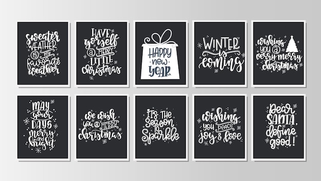Set with merry christmas and happy new year vintage gift tags and cards with calligraphy. handwritten lettering.