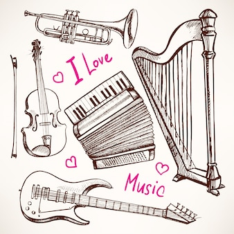 Set with musical instruments. accordion, violin, bass guitar. hand-drawn illustration. accordion, violin, bass guitar