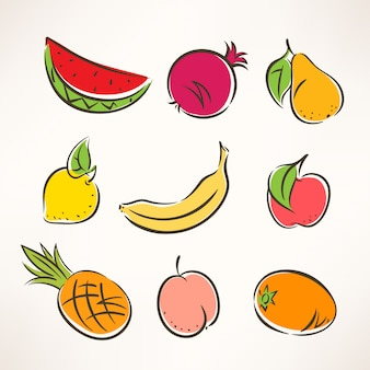 Set with nine different colored stylized fruits
