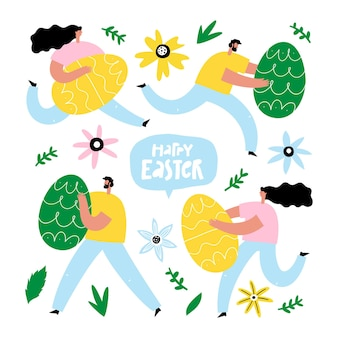 사람들이 계란을 들고 설정 하 고 손으로 그린 된 텍스트 행복 한 부활절
