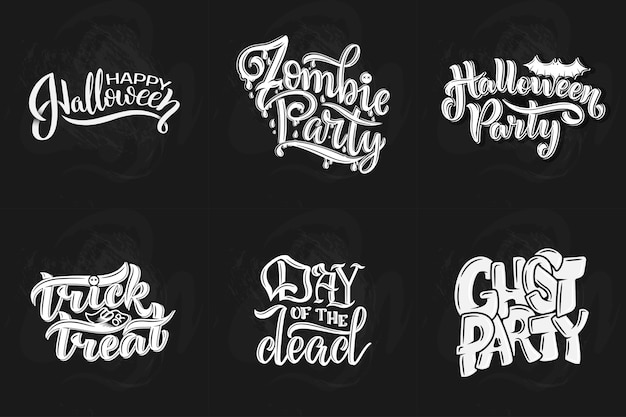 Set with phrase for halloween, vector lettering. holiday calligraphy for banner, poster, greeting card, party invitation.
