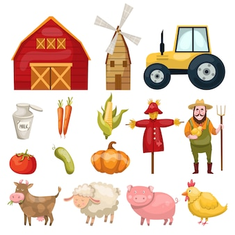 Set with plenty of colorful isolated farm symbols buildings animals characters natural food and organic vegetables