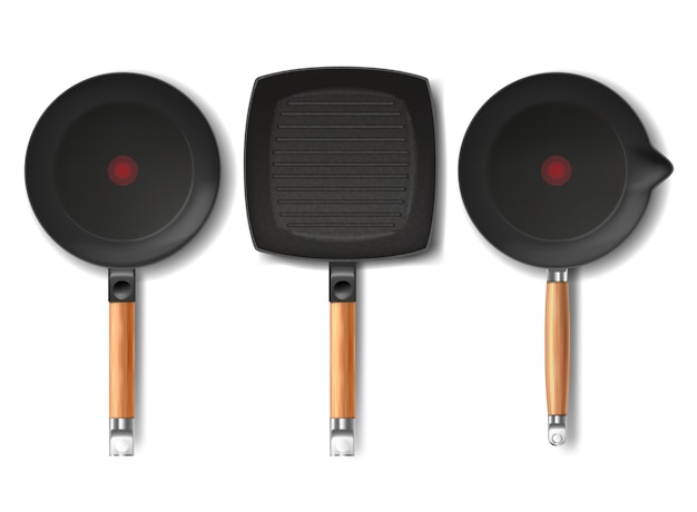 Set with realistic black frying pans of various shapes, with red thermo-spot indicator