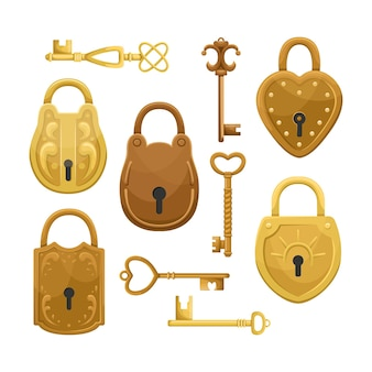 Set with retro keys and locks.