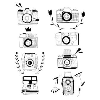 Set with retro photo cameras