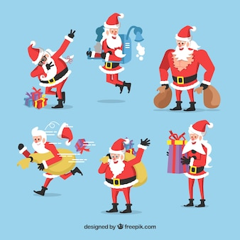 Set with santa claus in different postures