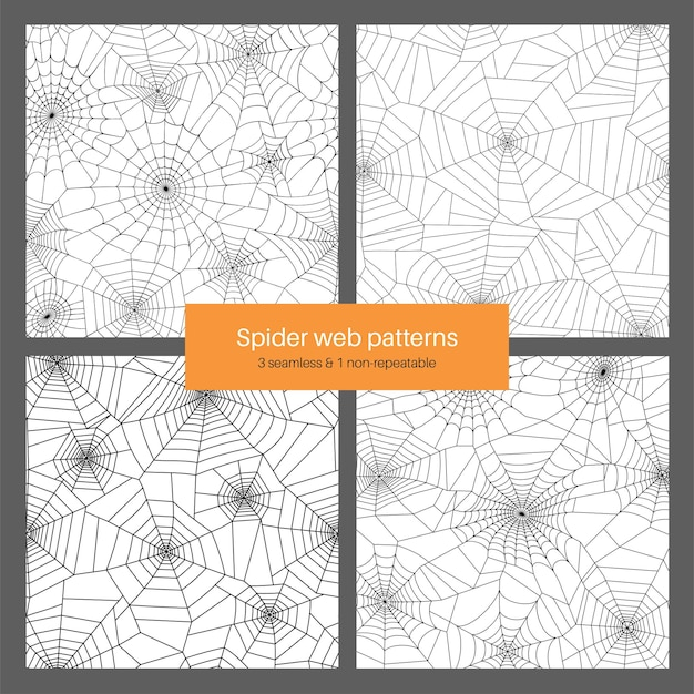 Set with seamless and non repeatable pattern with spider web. halloween decoration with cobweb.