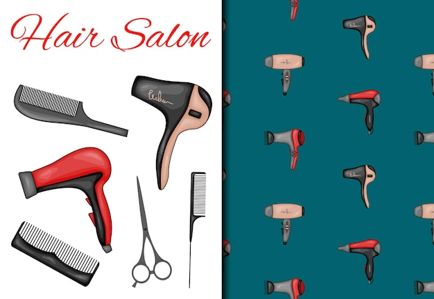 シームレスなパターンと美容院のアイテムがセットになっています。漫画のスタイル。ベクトルイラスト。