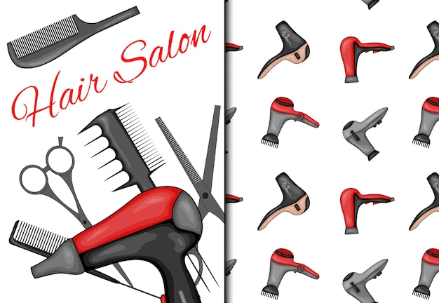 Set with seamless pattern and items for hairdressing salon.