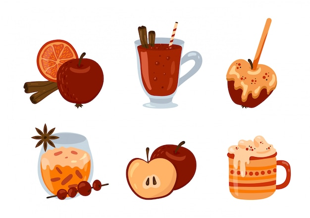 Set with seasonal autumn and winter drinks, desserts and pastry. mulled wine, hot chocolate, apple in caramel, spices. clip art set.