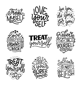 Set with selfcare lettering quotes for blog or sale.