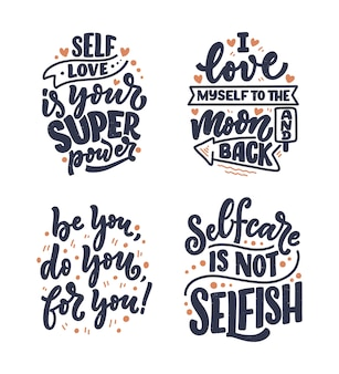 Set with selfcare lettering quotes