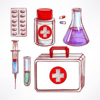Набор с эскизом медицинских принадлежностей. таблетки, шприц, колба. рисованная иллюстрация