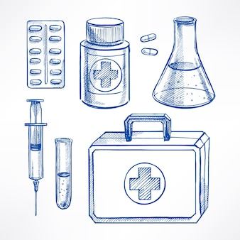 스케치 의료 용품 세트