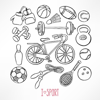 スケッチスポーツ用品をセット。手描きイラスト