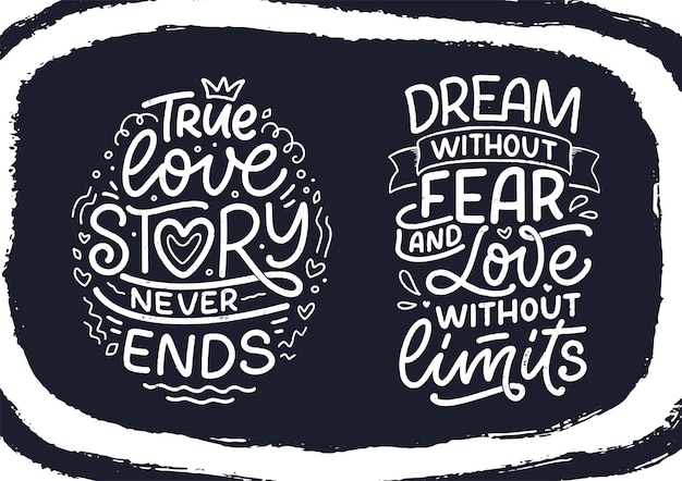 Set with slogans about love in calligraphy style. abstract lettering compositions. trendy graphic design for print. motivation posters. quotes for valentine's day. vector illustration