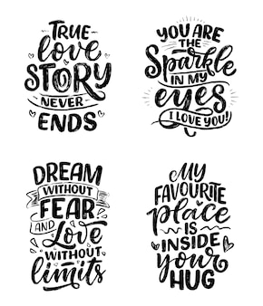 Set with slogans about love in calligraphy style