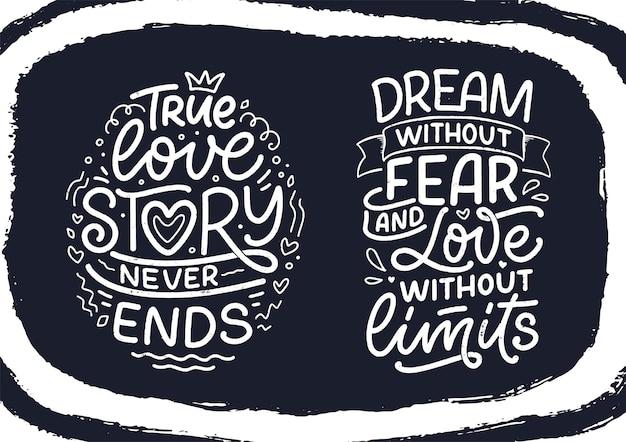 Набор лозунгов о любви в стиле каллиграфии. абстрактные надписи композиции. модный графический дизайн для печати. мотивационные плакаты. цитаты на день святого валентина. векторная иллюстрация