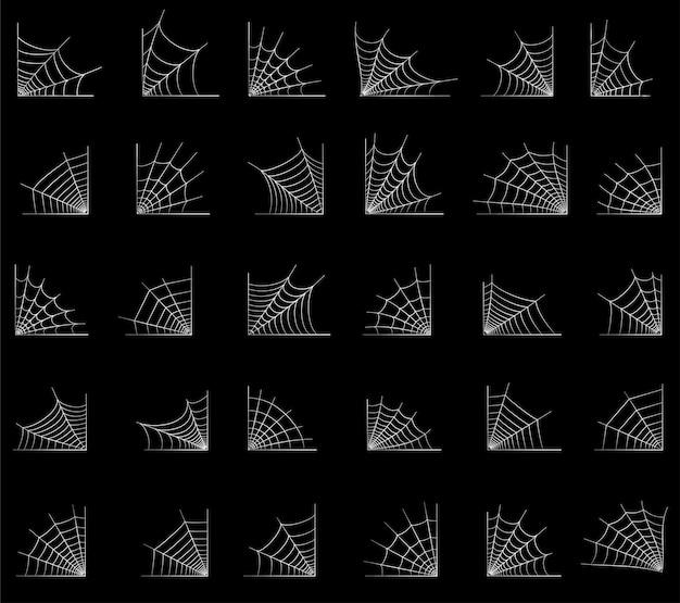 스파이더 웹 코너 일러스트와 함께 설정합니다. 거미줄과 할로윈 장식입니다. 간단한 거미줄 벡터
