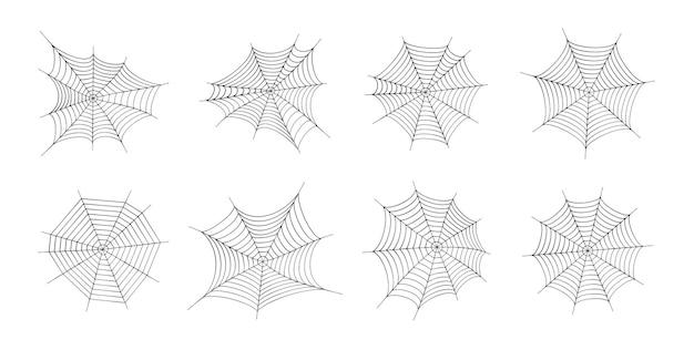 Набор иконок паутины. украшение хэллоуина с паутиной. паутина плоский вектор