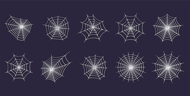 Set with spider web icons. halloween decoration with cobweb. spiderweb flat vector
