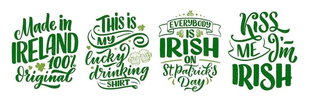 Set with st. patrick's day quotes