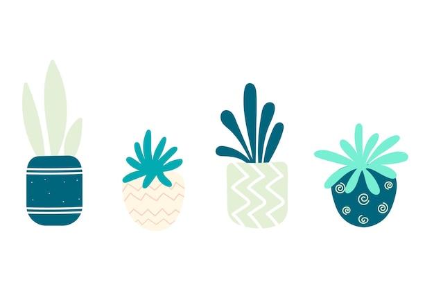 냄비에 다육 식물로 설정하십시오. 수제 화분. 삽화