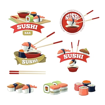 Set with sushi banners