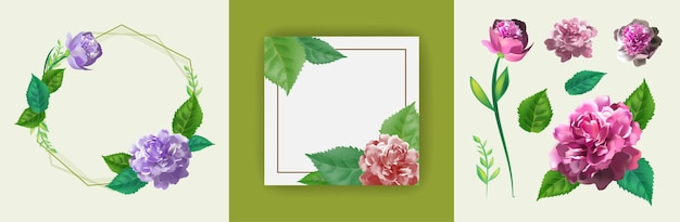 초대장, 인사말 카드, 장미의 분홍색 꽃, 아름다운 녹색 잎과 원형 프레임으로 장식 된 템플릿으로 설정하십시오. 3d 현실적인 그림입니다.