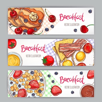 Set with three banners of different types of breakfast. hand-drawn illustration