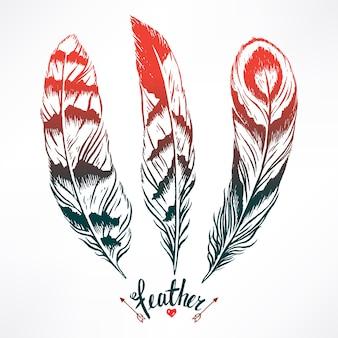 Набор с тремя красивыми перьями