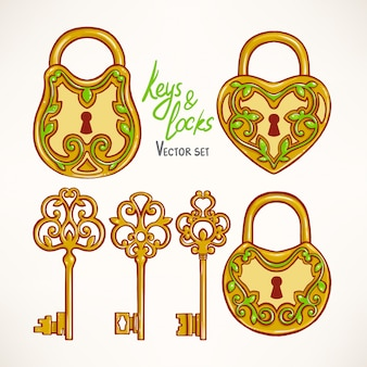 Set with three beautiful retro keys and locks with a floral pattern