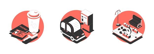 Набор из трех изолированных иллюстраций с автомобилями, парковочными машинами и указателями местоположения.