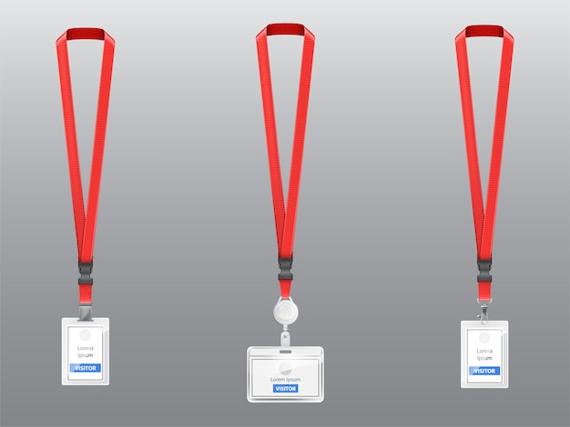 Set with three realistic plastic badges, holders with clips, buckles and red lanyards