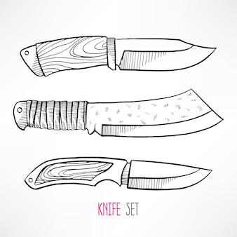 3つのスケッチハンティングナイフをセット