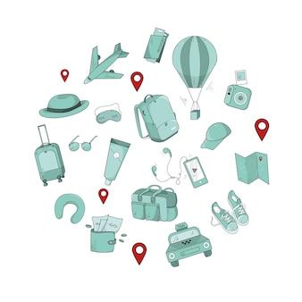 観光アイテムをセット。さまざまな落書きスタイルの要素。パターン、デザイン、レイアウト、印刷、パッケージング。