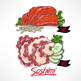 Set with two kinds of sashimi. salmon and octopus. hand-drawn illustration