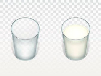 Set with two realistic glasses, clean and empty, filled with milk, cream or yogurt