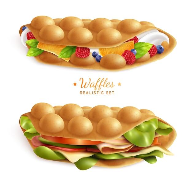 テキストイラスト付きバブル香港ワッフルサンドイッチの2つの現実的なセット