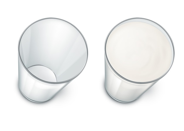 Set with two realistic transparent glasses, clean and empty, filled with milk